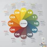 Περίληψη 12 στοιχεία infographics βημάτων/υπόδειξη ως προς το χρόνο επίσης corel σύρετε το διάνυσμα απεικόνισης 12 Στοκ Φωτογραφία