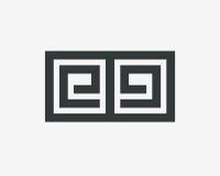 Περίληψη σχεδίου γραμμών λογότυπων γραμμάτων EE Στοκ Φωτογραφίες