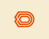 Περίληψη σχεδίου λογότυπων γραμμάτων Δ Στοκ εικόνα με δικαίωμα ελεύθερης χρήσης