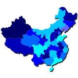 Περίληψη χαρτών της Κίνας στις σκιές του μπλε Στοκ Εικόνα
