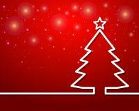 Περίληψη χριστουγεννιάτικων δέντρων με το αστέρι στο κόκκινο υπόβαθρο ελεύθερη απεικόνιση δικαιώματος