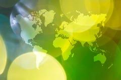Περίληψη bokeh του φωτός με τον παγκόσμιο χάρτη Στοκ φωτογραφίες με δικαίωμα ελεύθερης χρήσης