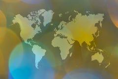 Περίληψη bokeh του φωτός με τον παγκόσμιο χάρτη Στοκ φωτογραφία με δικαίωμα ελεύθερης χρήσης
