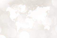 Περίληψη bokeh του φωτός με τον παγκόσμιο χάρτη Στοκ Εικόνες