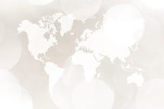 Περίληψη bokeh του φωτός με τον παγκόσμιο χάρτη Στοκ Εικόνα