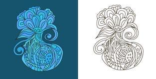 Περίληψη doodles (zen σύγχυση) με παράξενη μορφή λουλουδιών - διανυσματική απεικόνιση Στοκ Εικόνα