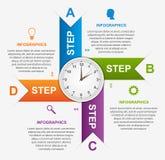 Περίληψη infographic με τα ζωηρόχρωμα βέλη και το ρολόι στο κέντρο πρότυπο εστιατορίων σχεδίου έννοιας Στοκ Φωτογραφία