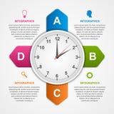 Περίληψη infographic με τα ζωηρόχρωμα βέλη και το ρολόι στο κέντρο πρότυπο εστιατορίων σχεδίου έννοιας Στοκ φωτογραφία με δικαίωμα ελεύθερης χρήσης