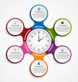 Περίληψη infographic υπό μορφή μεταβολικού και ρολογιού στο κέντρο στοιχεία τέσσερα σχεδίου ανασκόπησης snowflakes λευκό Στοκ φωτογραφία με δικαίωμα ελεύθερης χρήσης