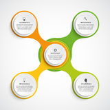Περίληψη infographic υπό μορφή μεταβολικού στοιχεία τέσσερα σχεδίου ανασκόπησης snowflakes λευκό Στοκ Εικόνες