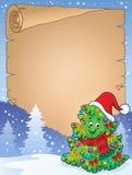 Περγαμηνή με το θέμα 6 χριστουγεννιάτικων δέντρων Στοκ εικόνα με δικαίωμα ελεύθερης χρήσης