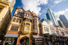 ΠΕΡΘ, ΑΥΣΤΡΑΛΙΑ - 12 Ιουλίου 2017: Οδός σανού, για τους πεζούς αγορές Στοκ Εικόνες
