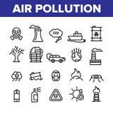Περιβαλλοντικό διανυσματικό σύνολο εικονιδίων ατμοσφαιρικής ρύπανσης γραμμικό ελεύθερη απεικόνιση δικαιώματος