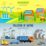 Περιβαλλοντικά οριζόντια εμβλήματα κινούμενων σχεδίων ρύπανσης απεικόνιση αποθεμάτων