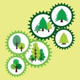 Περιβαλλοντικά σημάδια με το δέντρο και το πεύκο Αφηρημένο εργαλείο Στοκ Εικόνες