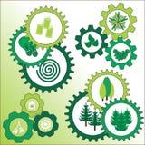 Περιβαλλοντικά σημάδια με το δέντρο και το πεύκο Στοκ Εικόνες