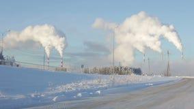 Περιβαλλοντικός άνθρακας ρύπανσης το χειμώνα απόθεμα βίντεο