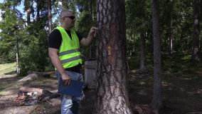 Περιβαλλοντικός επιθεωρητής που προσπαθεί να βγεί το καρφί από το δέντρο φιλμ μικρού μήκους