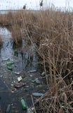 Περιβαλλοντικό πρόβλημα, απορρίματα Μόλυνση με τα συντρίμμια και τη PL Στοκ φωτογραφίες με δικαίωμα ελεύθερης χρήσης