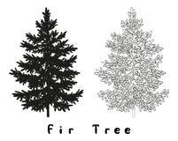 Περιγράμματα και επιγραφές Silhouet χριστουγεννιάτικων δέντρων Στοκ Εικόνες