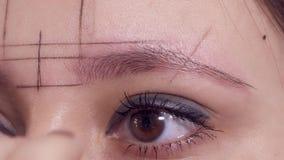 Περιγράμματα σχεδίων στα φρύδια μιας γυναίκας για την εφαρμογή του μόνιμου makeup σε ένα σαλόνι ομορφιάς απόθεμα βίντεο