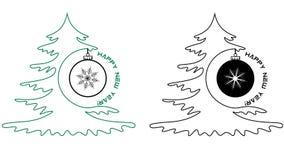 Περιγράμματα του χριστουγεννιάτικου δέντρου και της σφαίρας με την επιγραφή καλή χρονιά, μινιμαλισμός διανυσματική απεικόνιση