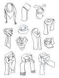 Περιγράμματα των μαντίλι για τα κορίτσια Στοκ φωτογραφία με δικαίωμα ελεύθερης χρήσης