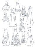 Περιγράμματα των φορεμάτων prom Στοκ εικόνα με δικαίωμα ελεύθερης χρήσης