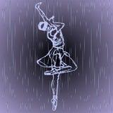 Περιγραμμένη σκιαγραφία του τυφλού κοριτσιού που που χορεύει στη βροχή στο γκρίζο υπόβαθρο Χορευτής Balet ελεύθερη απεικόνιση δικαιώματος