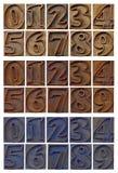 Περιγραμμένοι αριθμοί letterpress στους ξύλινους φραγμούς τύπων Στοκ Εικόνα