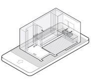 Περιγραμμένο λουτρό με το ξύλινο πάτωμα στο κινητό τηλέφωνο Isometric περίφραξη ντους καλωδίων Στοκ Φωτογραφία