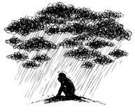 Περιγραμματική απεικόνιση: κατάθλιψη ελεύθερη απεικόνιση δικαιώματος