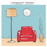 Περιγραμματική απεικόνιση του εσωτερικού καθιστικών με την κόκκινη καρέκλα Στοκ Εικόνα
