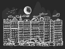 Περιγραμματική πόλη παραμυθιού στο μαύρο υπόβαθρο Στοκ Εικόνα