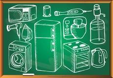 Περιγραμματική συσκευή που τίθεται στον πράσινο πίνακα κιμωλίας Στοκ Εικόνες