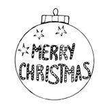 Περιγραμματική σφαίρα χριστουγεννιάτικων δέντρων στο άσπρο υπόβαθρο Στοκ Εικόνα