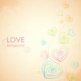 Περιγραμματικό ερωτευμένο υπόβαθρο καρδιών απεικόνιση αποθεμάτων