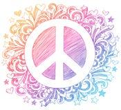 Περιγραμματικό διάνυσμα Doodle σημαδιών ειρήνης απεικόνιση αποθεμάτων