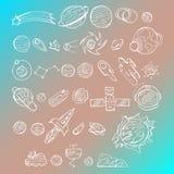 Περιγραμματικό διανυσματικό συρμένο χέρι άσπρο σύνολο κινούμενων σχεδίων doodles διαστημικών αντικειμένων και συμβόλων στο μπλε υ Στοκ φωτογραφία με δικαίωμα ελεύθερης χρήσης
