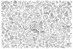 Περιγραμματικό διανυσματικό συρμένο χέρι σύνολο Doodle νέου έτους Στοκ Φωτογραφίες
