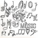 Περιγραμματικό καθορισμένο τριπλό clef doodle και άλλα σύμβολα μουσικής Στοκ φωτογραφία με δικαίωμα ελεύθερης χρήσης