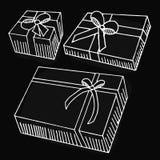 Περιγραμματικό κιβώτιο δώρων στο μαύρο υπόβαθρο Στοκ φωτογραφία με δικαίωμα ελεύθερης χρήσης