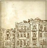 Περιγραμματικό σχέδιο του ιστορικού κτηρίου Στοκ εικόνα με δικαίωμα ελεύθερης χρήσης