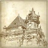 Περιγραμματικό σχέδιο του ιστορικού κτηρίου Στοκ Εικόνα
