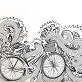 Περιγραμματικό doodle με το ποδήλατο Στοκ εικόνα με δικαίωμα ελεύθερης χρήσης