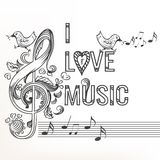 Περιγραμματικό doodle μουσικής με το τριπλό clef Στοκ εικόνα με δικαίωμα ελεύθερης χρήσης