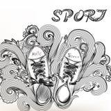 Περιγραμματικό doodle μόδας με τις αθλητικές μπότες Στοκ Φωτογραφία