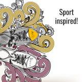 Περιγραμματικό doodle μόδας με τις αθλητικές μπότες Στοκ εικόνα με δικαίωμα ελεύθερης χρήσης