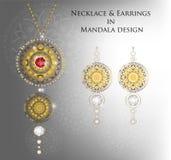 Περιδέραιο και σκουλαρίκια στο σχέδιο Mandala, μόδα εξαρτημάτων Στοκ Φωτογραφία