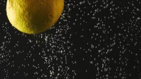 Περιερχόμενος φρέσκο κίτρινο ράντισμα λεμονιών στο λαμπιρίζοντας νερό στο μαύρο υπόβαθρο o E Βίντεο με απόθεμα βίντεο